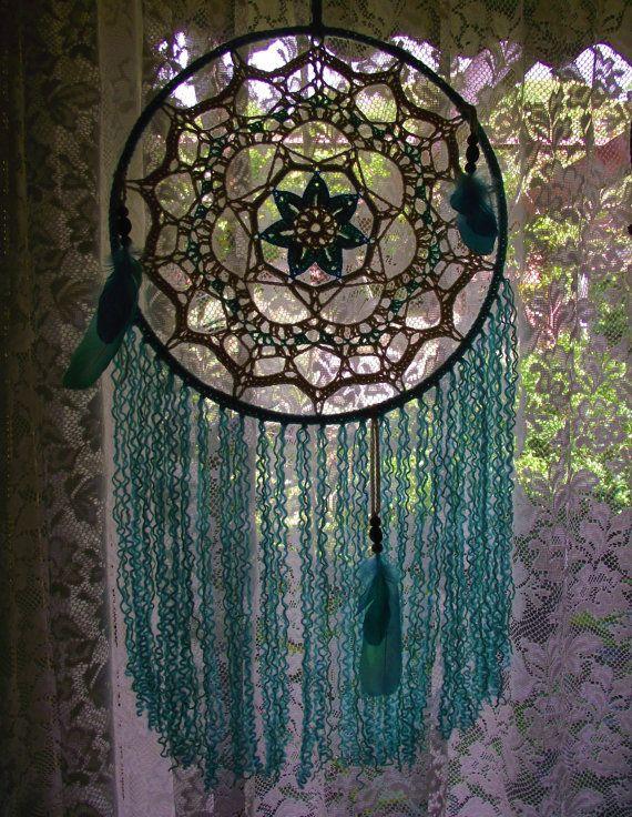 Grande blu aqua crema menta mandala dreamcatcher OASIS turchese catcher camera da letto arredamento attaccatura di parete boho hippie zingaro spiaggia casa da sogno