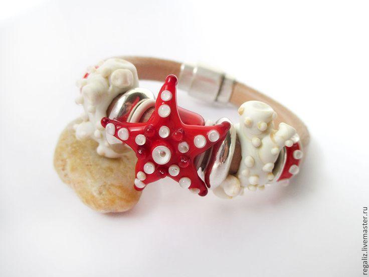 """Купить Браслет Regaliz """"Риф"""" - регализ, брошь в форме цветка, морской браслет, морская звезда"""