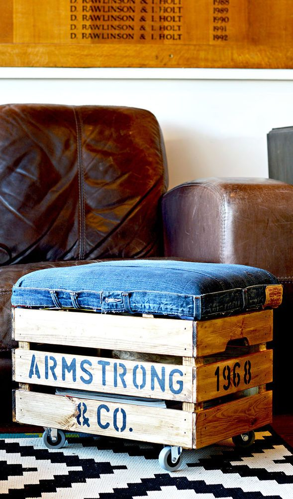 DIY an Awesome Footstool With Storage From Jeans and a Crate.
