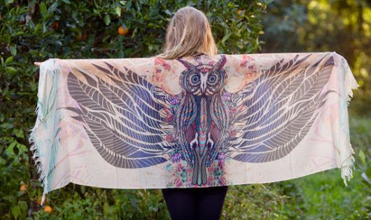 Sarong Scarf Paradise Owl Wings Totem Wearable Art Feather Pashmina, Festival beach Gypsy Bohemian Tribal Clothing Ajjaya Rave Wingspan