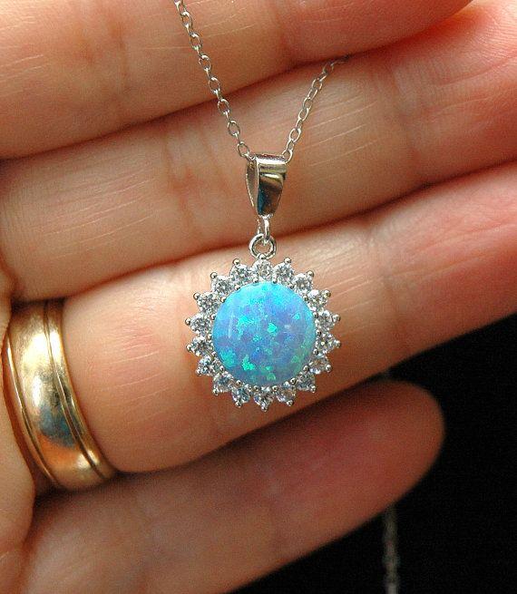 Blue Opal Necklace October Birthstone by AyansiWeddingDesigns