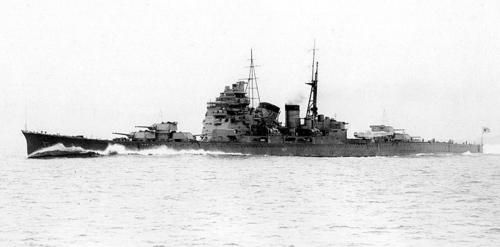 "Japanese heavy cruiser ""Takao"" at sea. Was sunk before war's end."