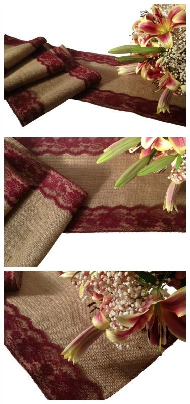 Who else wants a beautiful burlap and burgundy lace table runner to add a rustic but elegant touch to their country wedding decor? https://www.etsy.com/listing/254930292/burlap-and-burgundy-red-lace-table?ref=shop_home_feat_3
