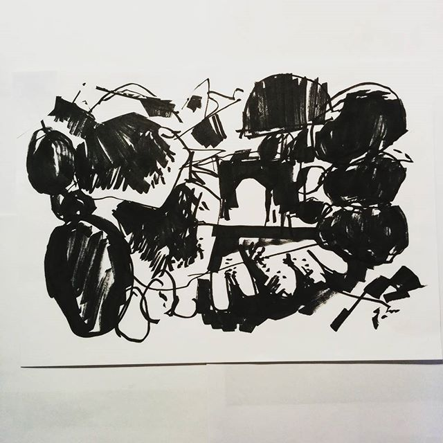 #inktober day 18 - abstract marker pen drawing by artist David Andrews. (#abstract #ink #drawing #markers #marker #pen #blackandwhite #inktober2016)