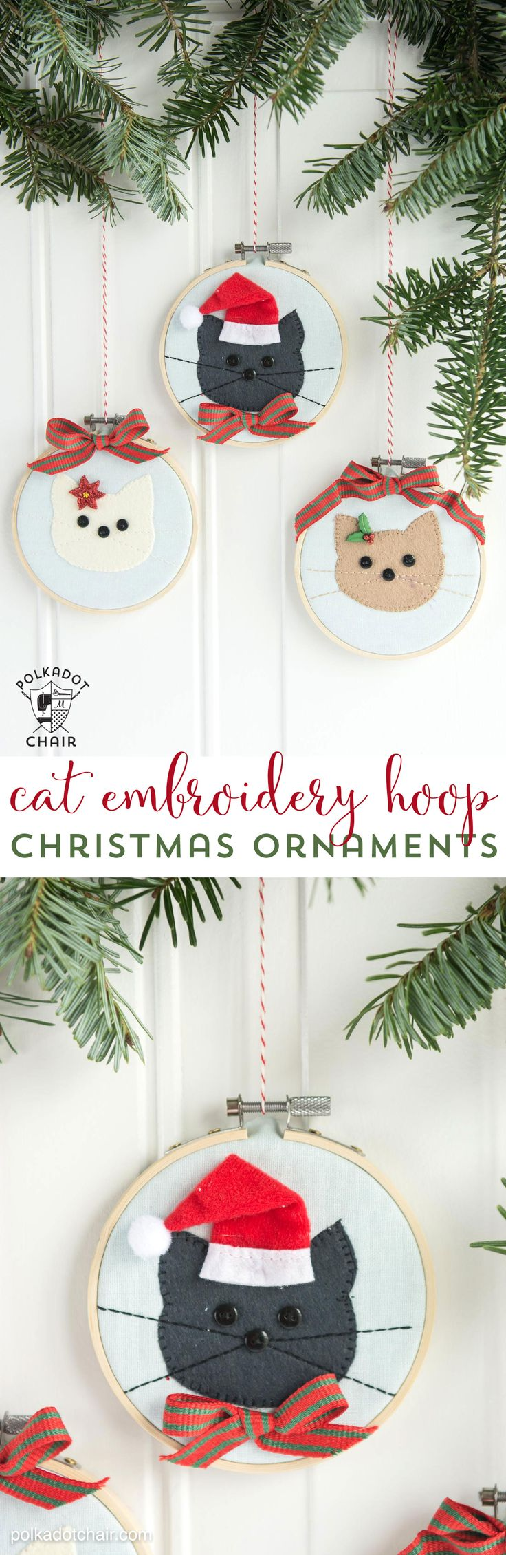 Cat Embroidery Hoop Christmas Ornaments 337 best