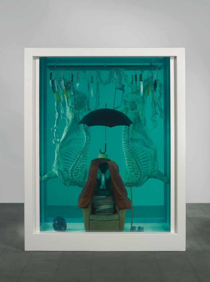 "Damien Hirst ""The Pursuit of Oblivion"" 2004. Francis Bacon's technique of boxing in his figures within 3D 'spaceframes' relates directly to Hirst's practice of containing his sculptures within vitrines and tanks. ""When a work becomes 3-dimensional it turns into something else."""