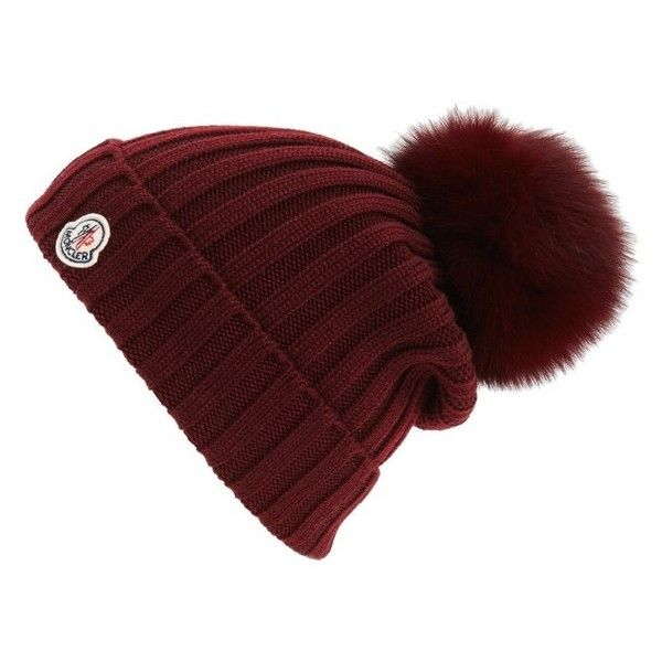 Women's Moncler Genuine Fox Fur Pom Wool Beanie ($360) ❤ liked on Polyvore featuring accessories, hats, burgundy, brimmed beanie hats, wool ski hats, pom pom beanie hat, logo hats and brimmed beanie