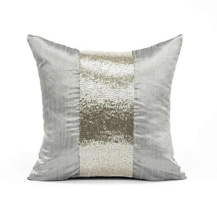 "16"" X 16"" Silk Dupioni Silver Sequins Stripe Throw Pillow Cover | eBay"