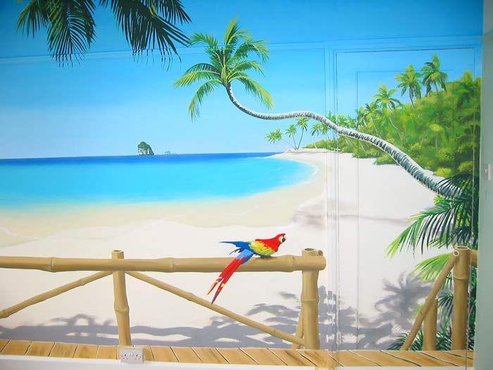 3d murals   Tropical Paradise mural - Palm fringed beach