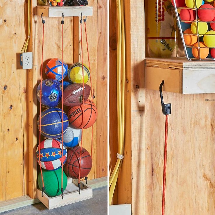 Some kids are into balls—any kind of balls. So they accumulate. It's hard to find a storage system to keep them all handy, including the ones on the bottom of the pile. Here's an ingenious system using bungee cords. They're firm enough to keep the pile organized, but stretchy enough that you can squeeze the bottom ball out.