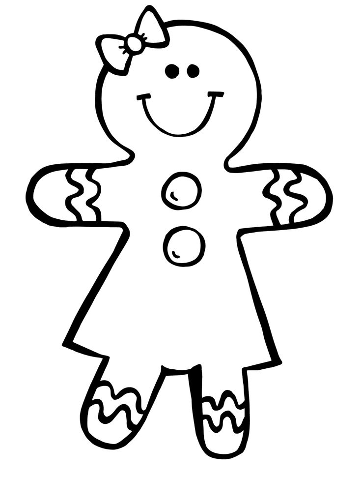 Gingerbread Woman Template. Printable Ornament Shapes Fun Free