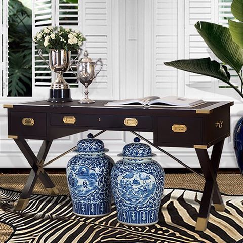 This classic Campaign Desk evokes the old world charm of Plantation Living, lending beauty & timeless character to any home