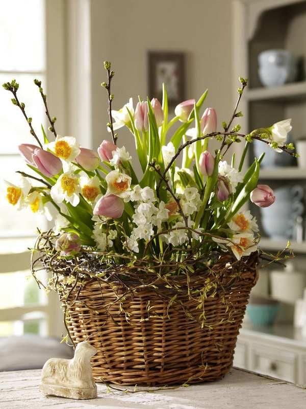 Easter basket of flowers www.Sevensistersflorist.com