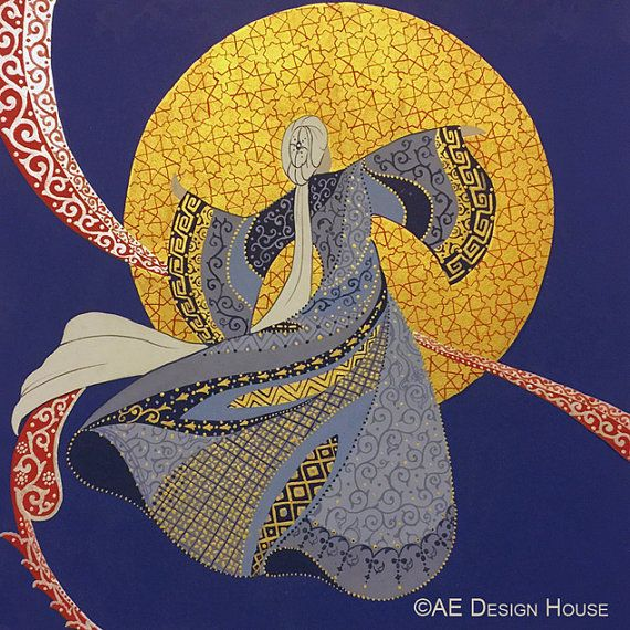 Original Painting Whirling Dervish Sufi Dance by AEDesignHouse