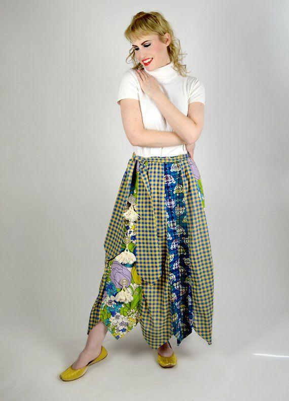 Vintage daisys Hippie Patchwork mid  Length Patchwork Skirt Hippie clothes patchwork skirts Skirt Hippy clothes Festival Gear