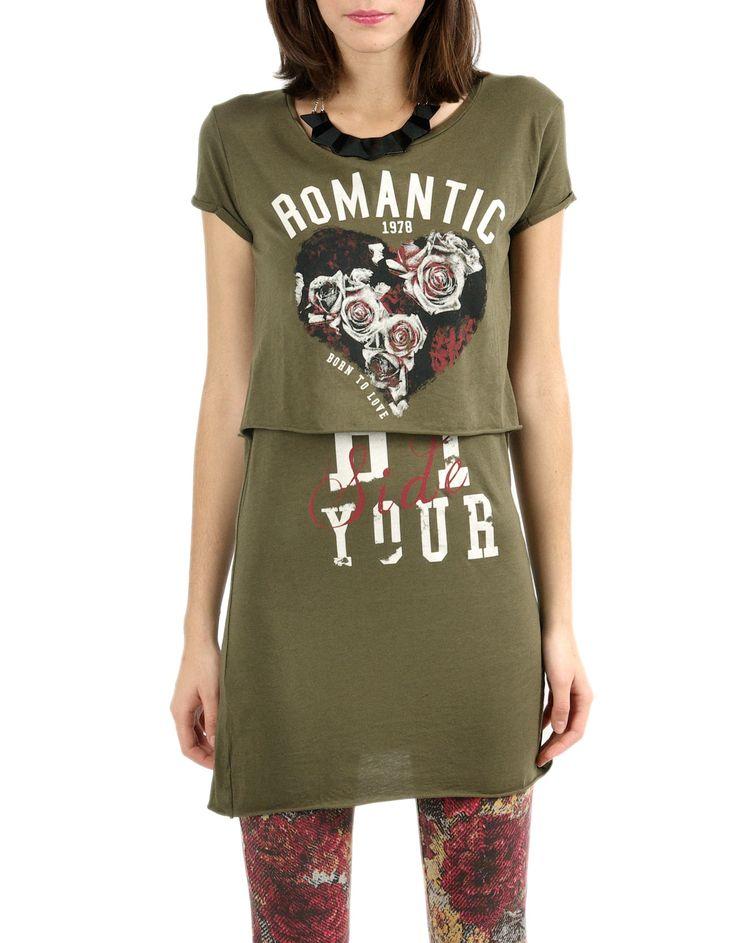 #Camiseta doble Shana manga corta. Color verde, estampado #Romantic. 12,99€ en www.shana.com #fashion #ropa #clothes