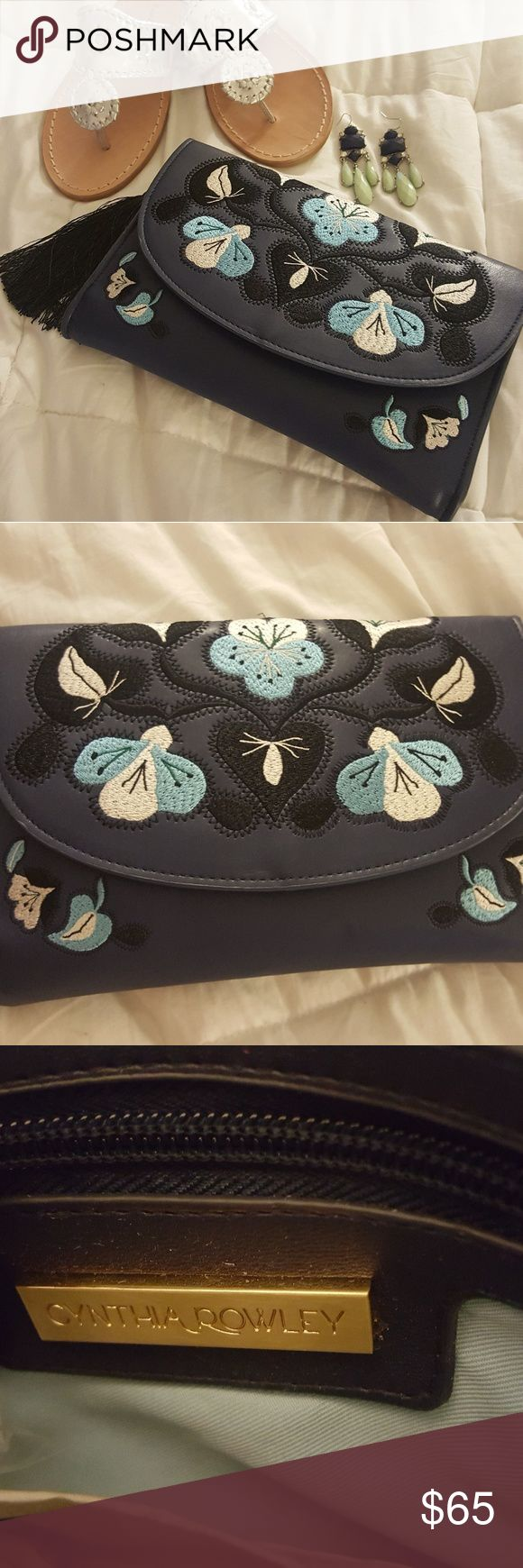 Cynthia Rowley Layla embroidered clutch Beautiful black, blue and white collaboration ensemble this clutch. Check last pic of tiny scratch on the back. Very small and most important, not in the front. Cynthia Rowley Bags Clutches & Wristlets