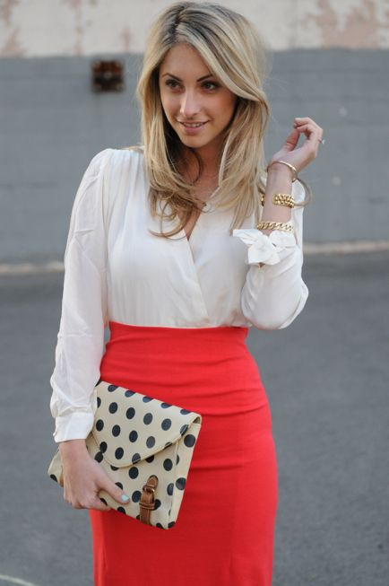 : Fashion, Polka Dots, Colors, Dots Clutches, Workoutfit, Pencil Skirts, White Blouses, Work Outfit, Red Skirts
