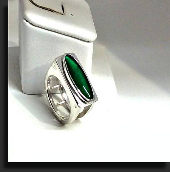 OOAK Green Onyx sterling silver ring Statement ring Modern