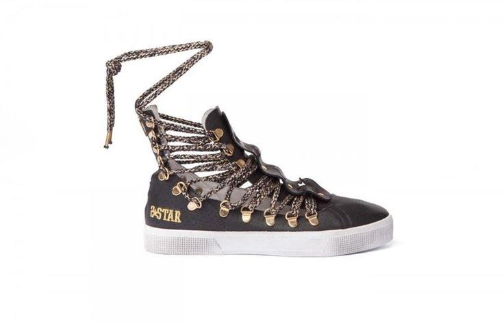 Sneaker donna 2 star 2SD1096 scarpa slave alta nero oro spring summer 36 36 36