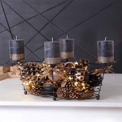 korb adventskranz ca l 54 5 x b 34 x h 18cm schwarz. Black Bedroom Furniture Sets. Home Design Ideas