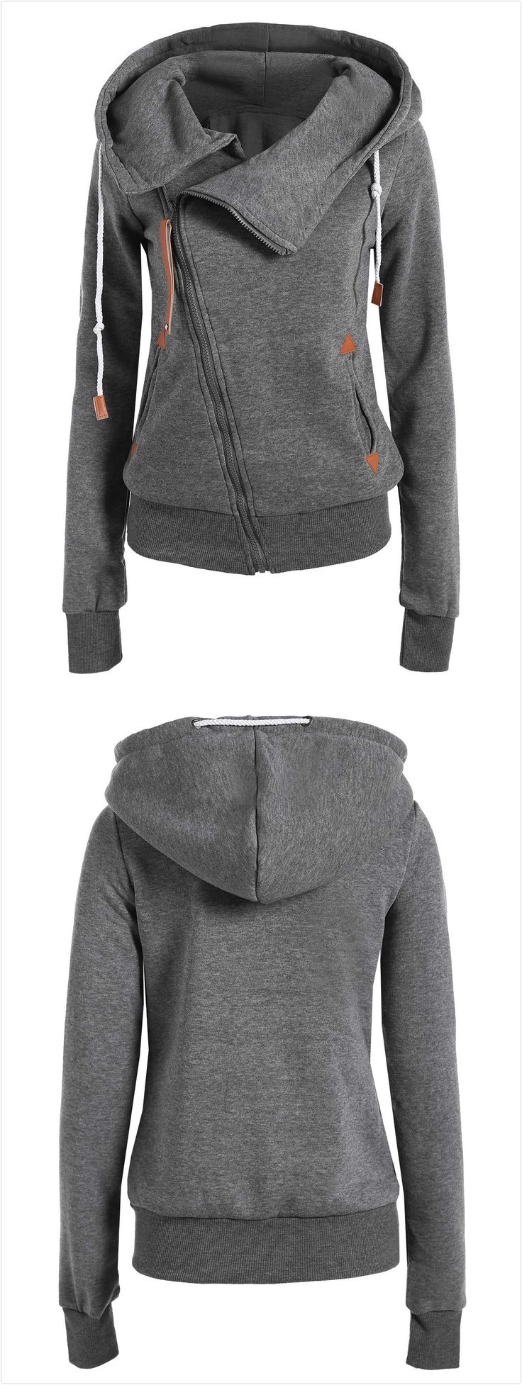 Solid Color Long Sleeves Casual Style Hoodie