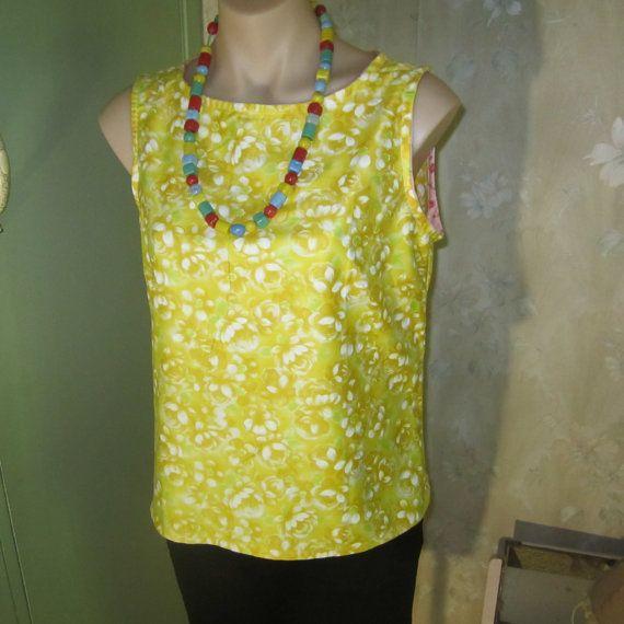 1960's Yellow rose cotton top fPRmeiQ