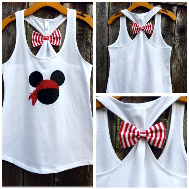 Pirate Mickey Bow Back Tank Top, Disney Tee, Disney Tank, Racerback Tank Top, Bow Back Tank Top, Woman's, Glitter, Disney Family Tees by 31Blossoms on Etsy https://www.etsy.com/listing/241544112/pirate-mickey-bow-back-tank-top-disney