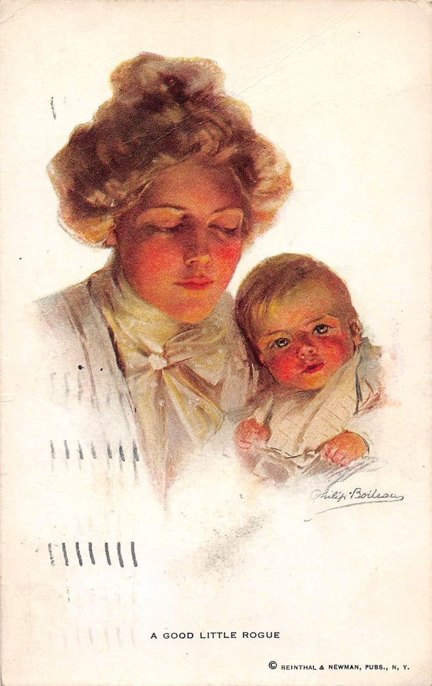 Lady with Child Artist Signed Boileau Antique Postcard (J20951)