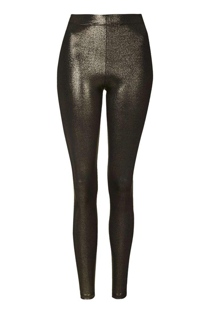 Metallic Foil Wet Look Leggings - Topshop
