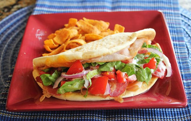 Turkey Bacon Ranch Flatbread Sandwich from Jamie Cooks It Up!