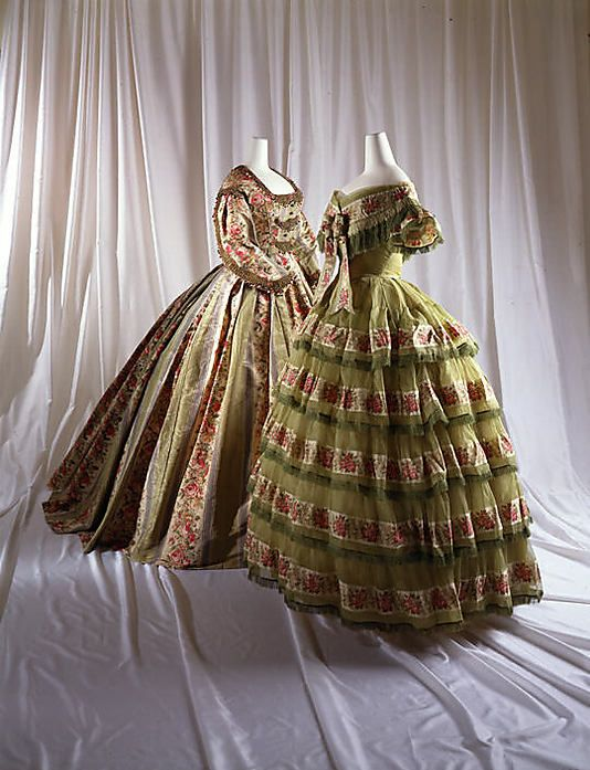 From the Met Museum, these are exquisite! From c.1858! Love the tea bodice in the back, and this green silk creation in the front is breathtaking!