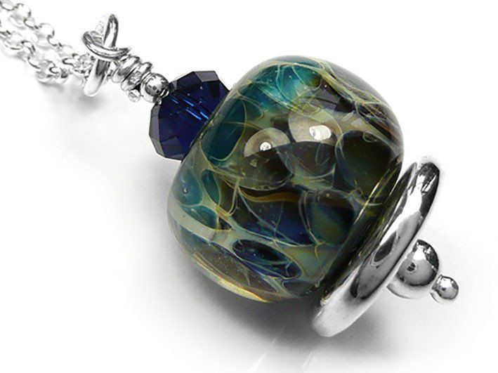 Lampwork Glass Pendant - Deep Sea