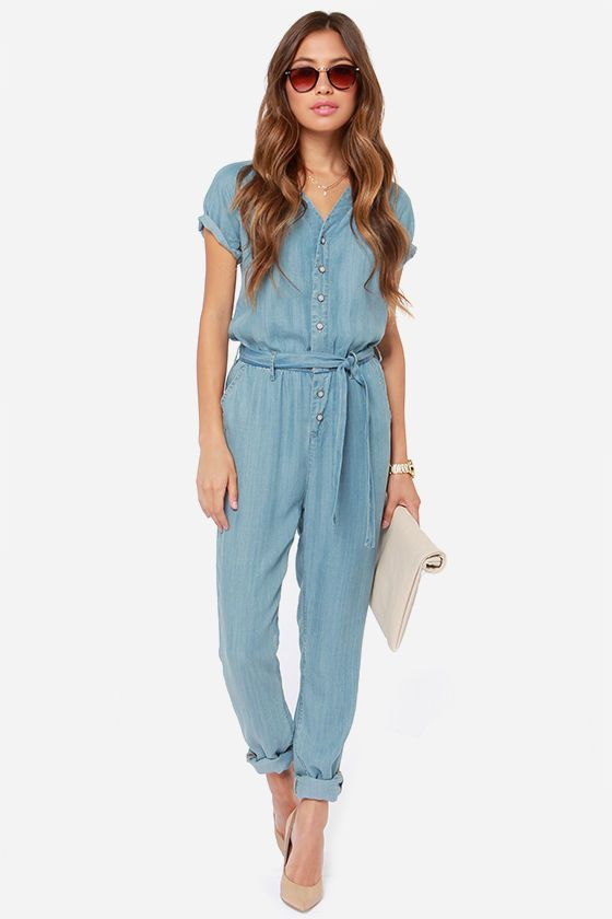 Light Blue Denim Jumpsuit