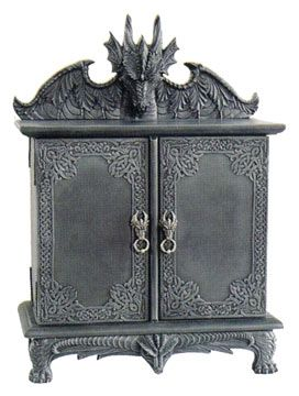 Gothic Cabinet With Dragon Handles And A Dragon On Top