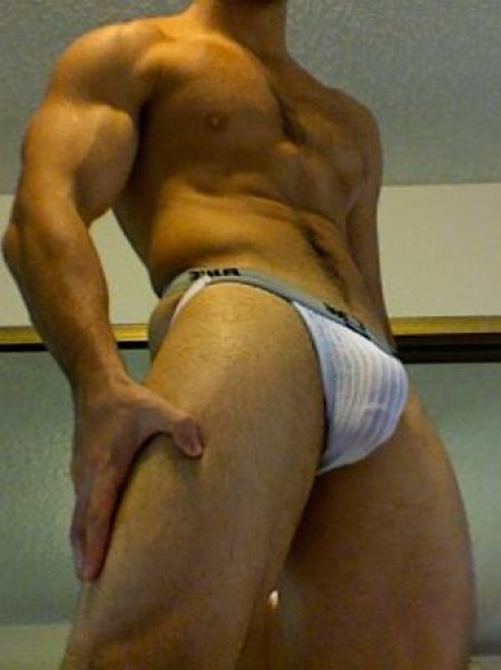 Shirtless Amateur Muscle Man Shows Off His Jockstrap