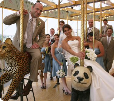 Photo Inspiration - Bridal Party on the Carousel!    Photo by: Emily Trolley