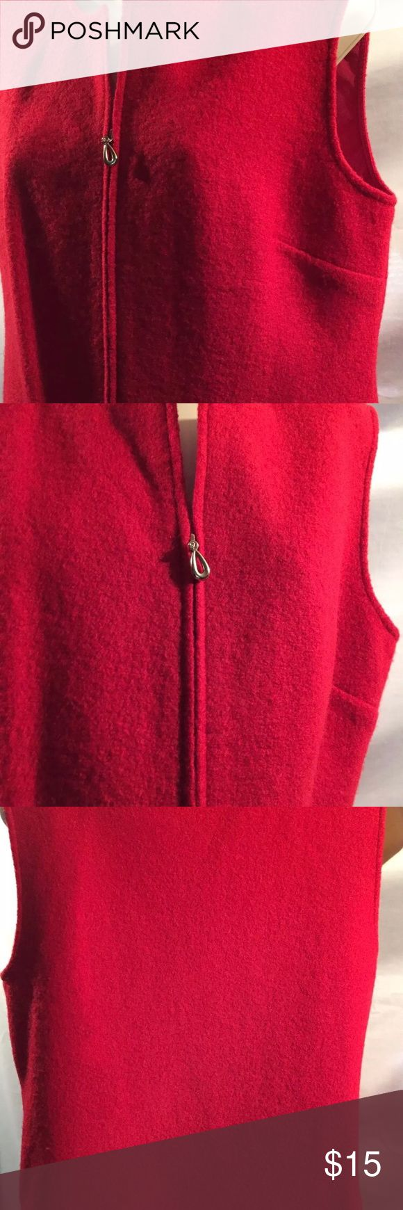 Women's Designers Originals Studio 100% Wool Vest This is a listing for a   Ladies Women's Designers Originals Studio 100% Wool Red Zippered Vest Size Med  Fiber Content: 100% Wool   Measurements:  From back armpit to armpit 20 inches Length from top back to bottom of vest New with tags's still attached Zips in front but not all the way to top. Leaving a V Neck See pictures for visual details  Thank you for your interest, and for looking.   B7 Jackets & Coats Vests