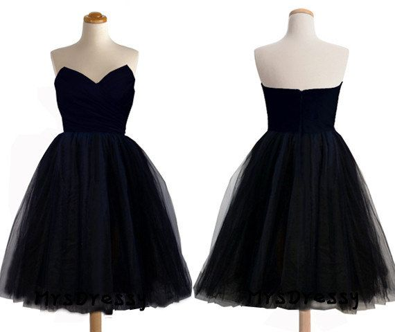 Dark Navy Sweetheart Neck Short Pleated Tulle Bridesmaid Dress, Indigo Cocktail Party Dress Midnight Blue Short Baby Doll Prom Dress MD311