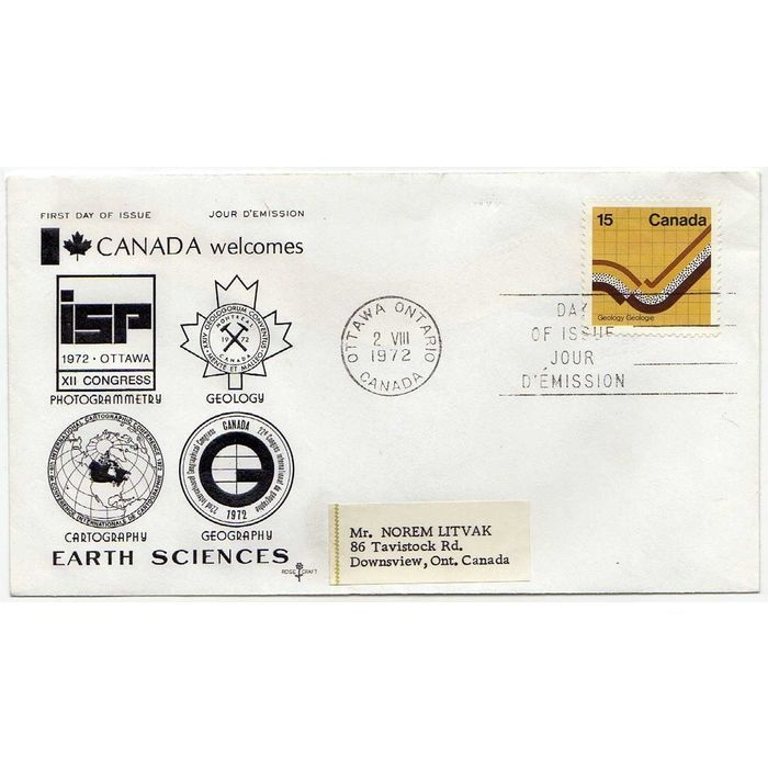 CANADA SCOTT #582 ROSECRAFT CACHET FDC 15¢ EARTH SCIENCES 1972 FIRST DAY COVER. Buy it on eBid Canada | 154682787