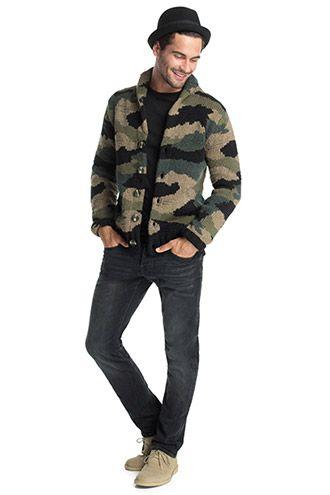 Esprit / chunky knit cardigan, camouflage pattern