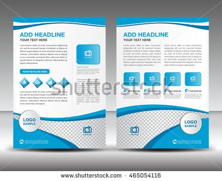 Blue Business Brochure Flyer Design Layout Template In A4 Size, Newsletter,  Leaflet,vector