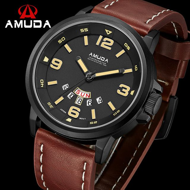AMUDA Luxury Date Day Casual Watch Red Men Sports Watches Army Military Quartz Geniue Leather Wrist Male Watch relogio masculino  US $30.75