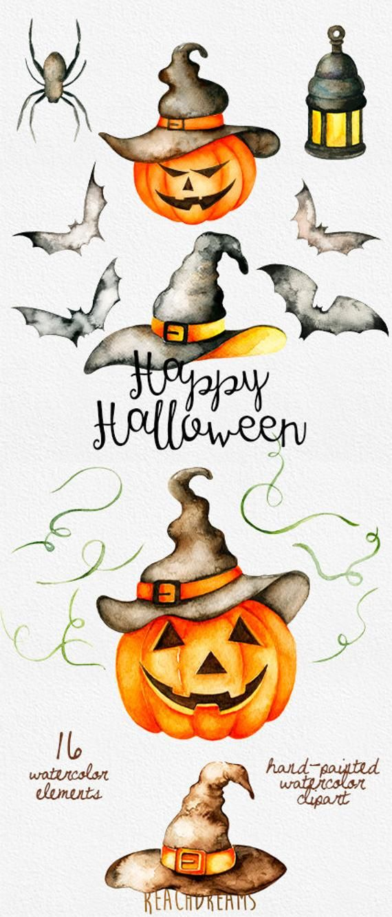 Halloween watercolor clipart, Autumn, Pumpkin, fall, holiday, party, hats, lamp, spider, bat, hand p