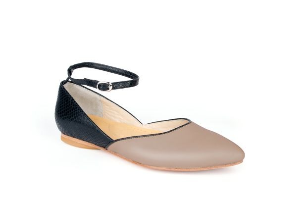 The Modern Mary-Jane by Poppy Barley Made to Measure in Sand Grey and Black Python. #Customize your leather colours and hardware. #Handcrafted to your measurements. #Flats #BalletFlats poppybarley.com