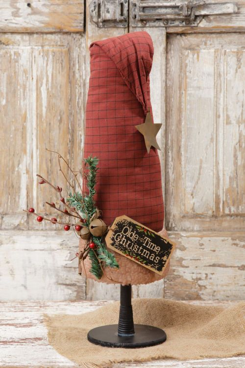 "Primitive Country Rustic "" OLDE TIME CHRISTMAS "" Santa Hat On Stand #CountryRusticPrimitive"