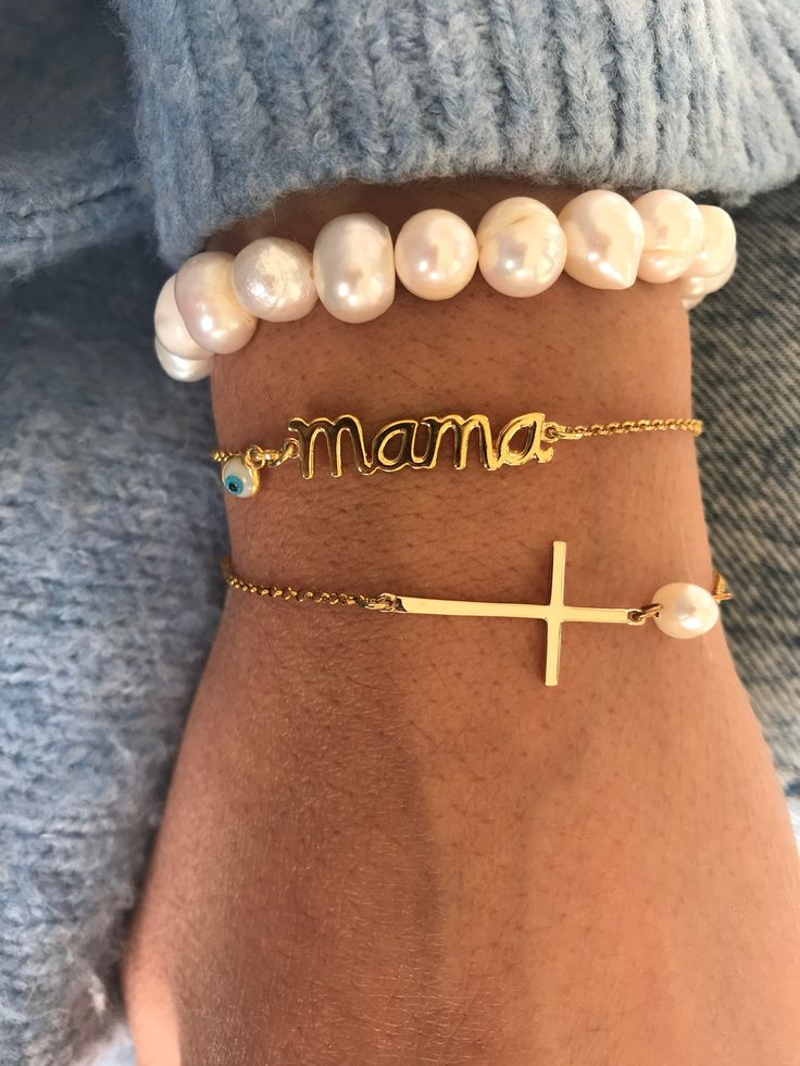 Excited to share the latest addition to my #etsy shop: Gold Mother Bracelet, Mother Bracelet, Gold Cross Bracelet, Pearls Bracelet, Gift for Mother, 24K Gold Bracelet from Sterling Silver 925. https://etsy.me/2JnOA56 #jewelry #bracelet #gold #anniversary #white #yes #n