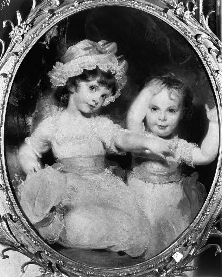 "Sir Thomas Lawrence (1769‒1830), ""The Honorable Emily Mary Lamb, Viscountess Palmerston, and the Honorable Harriet Anne Lamb as Children,"" 1792. Oil on canvas, 29 1/2 x 25 in. (oval). Photographed in March 1931 at an exhibition in London. The Frick Collection / Frick Art Reference Library Photoarchive."