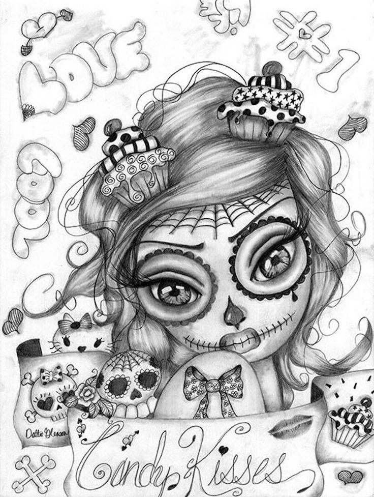 Candy Kisses by Dottie Gleason Sugar Skull Girl Canvas Fine Art Print