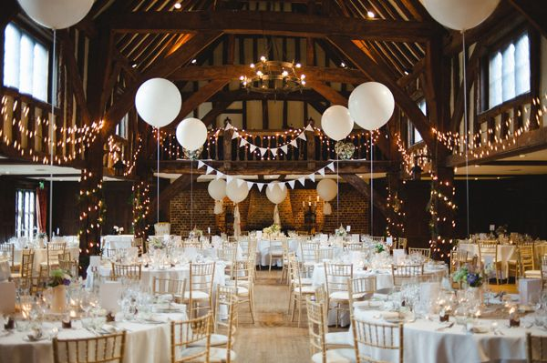 Rustic Stylish Great Fosters Wedding Barn Decor Fairy Lights Balloons http://karenflowerphotography.com/